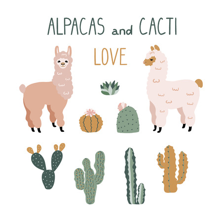 Cute cartoon Alpacas and Cacti Design Elements. Vector clipart.