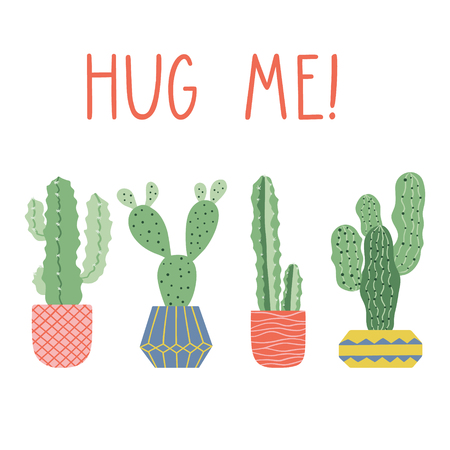 Hand drawn cacti print with funny lettering. Cactus in pot. Vector card design. Hug me text.