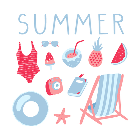 Summer vacation illustrations set. Inflatable ring, chair, swimming suit, sunglasses and other beach things. Vector doodle clipart.