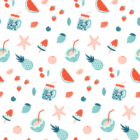 Summer seamless pattern. Fruits and cocktails. Vacation mood. Vector wallpaper.