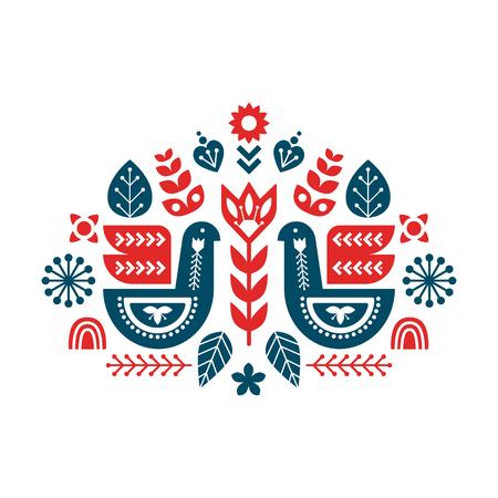 Modèle de composition avec des oiseaux et des éléments décoratifs. Illustration florale d'art populaire.