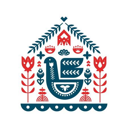Nordic ornaments, folk art pattern. Bbird,   floral and decorative elements. Vector illustration.  イラスト・ベクター素材