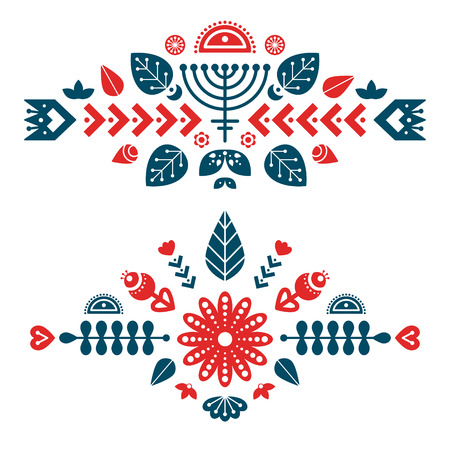 Nordic ornaments, folk art pattern. Two decorative composition. Vector template for your design.