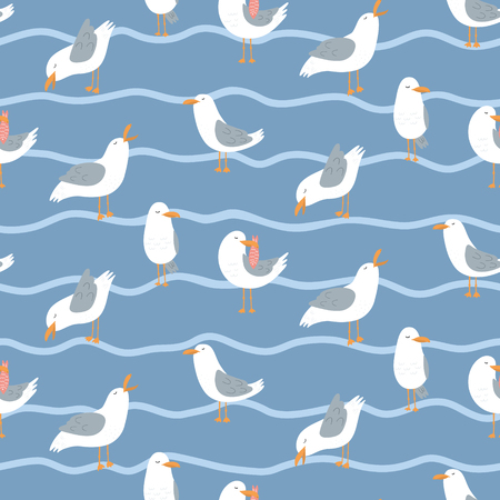 Seamless pattern with seagulls and waves. Cute cartoon seagulls on a coast. Summer vacation. Good for print. Illustration