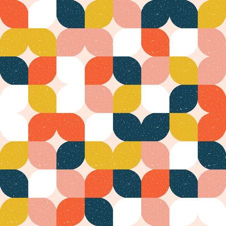 Colorful geometric seamless pattern. Retro style. Vector background.
