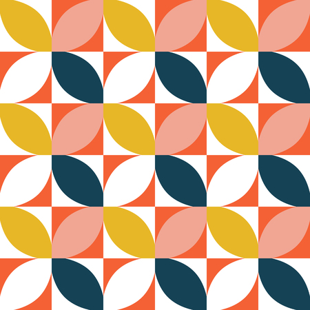 Colorful geometric seamless pattern. Mid century style. Vector background.