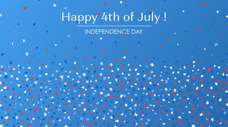 4th of July festive greeting card with text. American Happy Independence Day. Concept  design background with paper confetti in traditional American colors - red, white, blue.