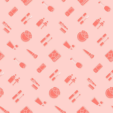 Cosmetic icon seamless pattern. Pink vector wallpaper. Good for fabric, wrapping paper, print etc.