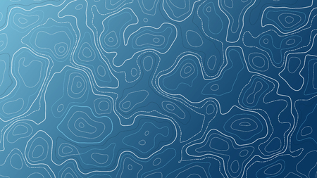 Blue background with map contour. Topographic vector wallpaper. Çizim