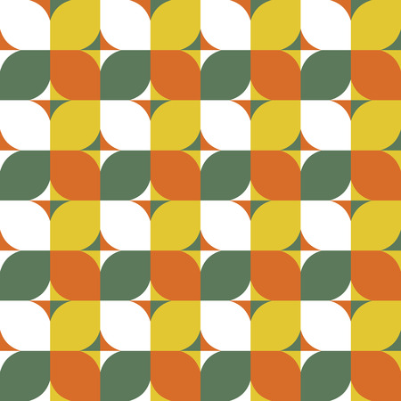 Modern geometric seamless pattern. Mid century style. Vector background.  イラスト・ベクター素材