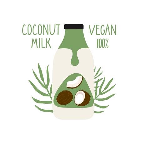 Latte di cocco in una bottiglia di cartone animato. Latte vegano. Confezione. Illustrazione disegnata a mano di vettore.