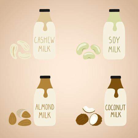Set of vegan milk in a cartoon bottles. Soy, cashew, coconut, almond. Packaging. Vector hand drawn illustration. Vector Illustratie