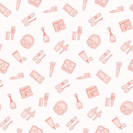 Seamless pattern with flat cosmetics icon. Vector wallpaper. Good for fabric, wrapping paper, print etc. Illustration