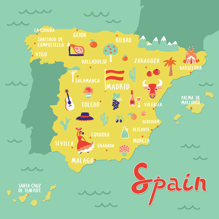 Vector map of Spain with  landmarks, people, food and plants. Travel map. Illustration