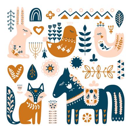 Composición con animales de arte popular y elementos decorativos. Patrón de vector dibujado a mano. Estilo escandinavo, nórdico.