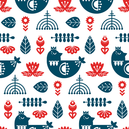 Folk art seamless pattern with bird and floral elements. Nordic decorative ornaments. Vector print.