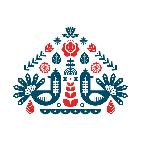 Decorative print with peacock and floral elements. Nordic ornaments, folk art pattern. Vector template for your design.
