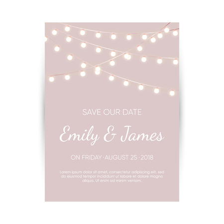 Wedding invitation card. Elegant design template with lights garland and space for text. Vector cover.