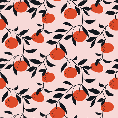 Hand drawn seamless pattern with Tangerines. Vector wallpaper with cartoon citrus fruits. Good for fabric, textile, printing.