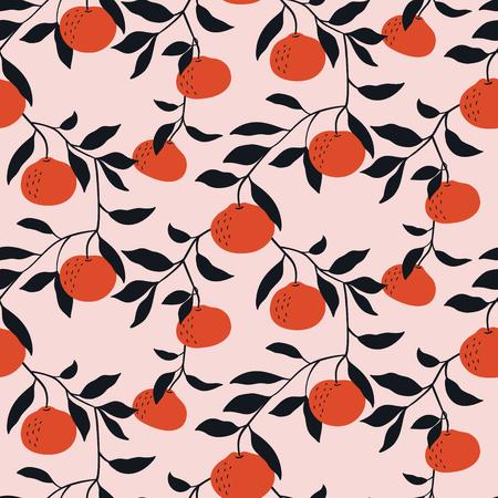 Reticolo senza giunte disegnato a mano con i mandarini. Carta da parati vettoriale con agrumi del fumetto. Buono per tessuto, tessuto, stampa. Vettoriali