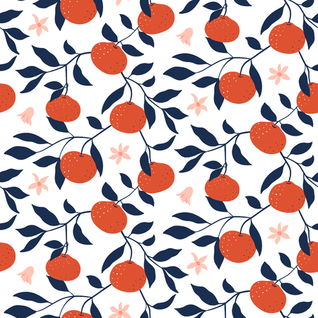 Hand drawn seamless pattern with Tangerines. Vector wallpaper with ripe citrus fruits. Good for fabric, textile, printing.