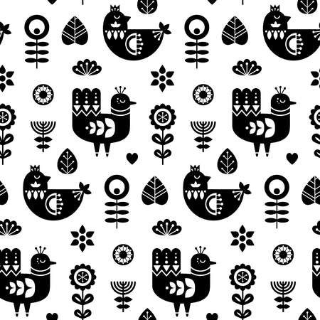 Folk art seamless pattern with birds and decorative floral elements. Black and white print template. Good for printing. Scandinavian style. Vector illustration.
