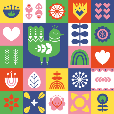 Folk art pattern with bird and decorative elements. Geometric print. Scandinavian style. Vector illustration.