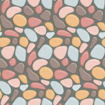 Seamless pattern with colorful stones. Vector seamless background with sea pebble. Vector wallpaper.