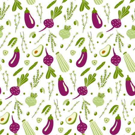 Modern seamless pattern with hand drawn green and violet doodle vegetables. Vector illustration. Good for printing. Vetores