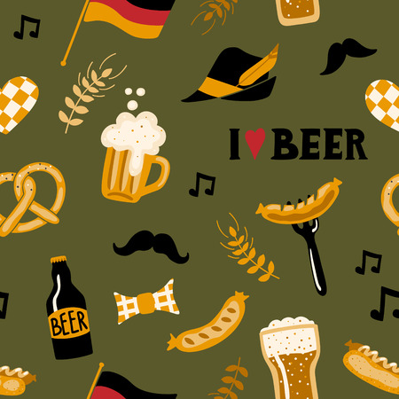 Hand drawn seamless pattern with traditional Beer fest attributes. Craft beer print. Doodle style. Vector repeating wallpaper.