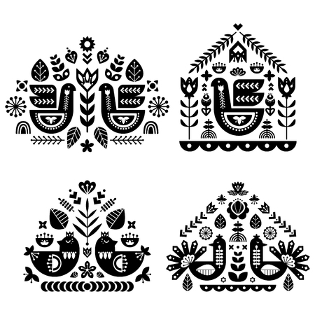 Folk art pattern collection with four single pattern. Monochrome decorative composition with bird and floral elements. Nordic style. Vector design templates set.