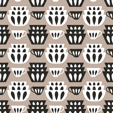 Cooking repetitive background for kitchen. Vector seamless pattern with plates and cups for kitchen fabrics, napkins, wrapping paper.  イラスト・ベクター素材