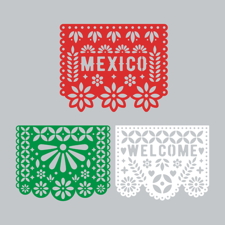 Papel Picado set, Mexican paper decorations for party. Cut out compositions for paper garland. Vector template design.