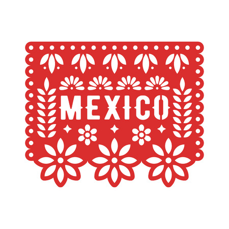 Papel Picado, Mexican paper decorations for party. Cut out compositions for paper garland. Vector template design. Foto de archivo - 107313890