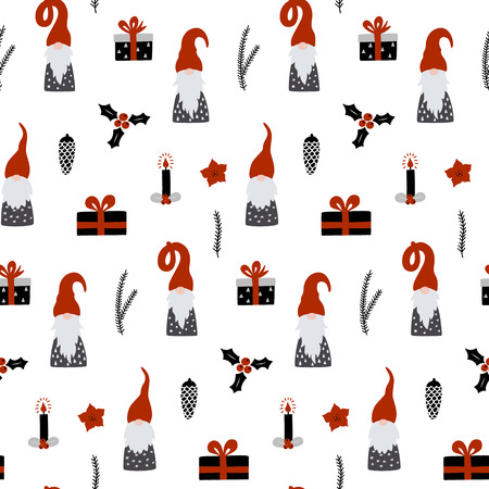 Seamless pattern with Nordic Gnomes and christmas festive decorations. Hand drawn scandinavian print. Winter holidays vector wallpaper.