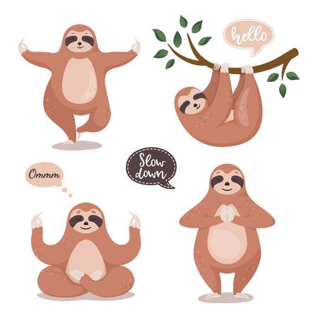 Set süße Faultiere, die am Baum hängen und Yoga machen. Lustige Faultiersammlung der Karikatur. Vektor-Cliparts