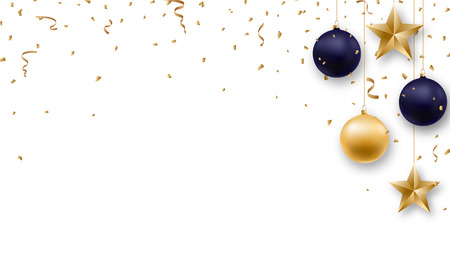 Christmas background with shiny golden and blue balls, serpentine and confetti. New Year design template.