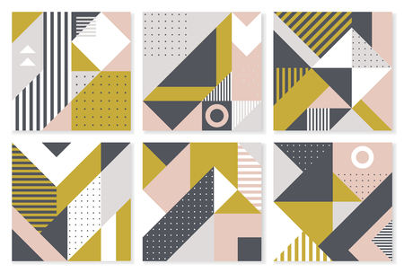 Set of 6 backgrounds with trendy geometric design. Vector template for Covers, Voucher, Posters, Flyers and Banner Designs.