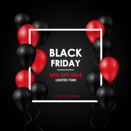 Black friday Sale banner. Shiny black and red balloons on black background. Vector design template.
