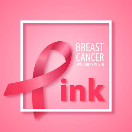 Word Pink with pink ribbon instead letter P. Symbol of Breast Cancer awareness month. Vector banner.