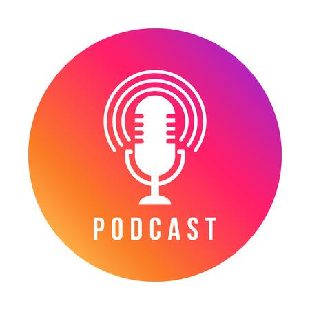 Table studio microphone icon. Broadcast sign. Podcast emblem design. Vector Radio mic illustration Illustration