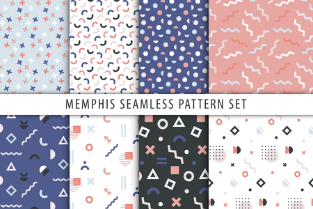 Set of abstract geometric prints. Vector collection of seamless patterns in memphis style. Vetores