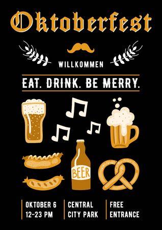 Oktoberfest design template for invitation, poster, flyer, etc. Beer festival banner.