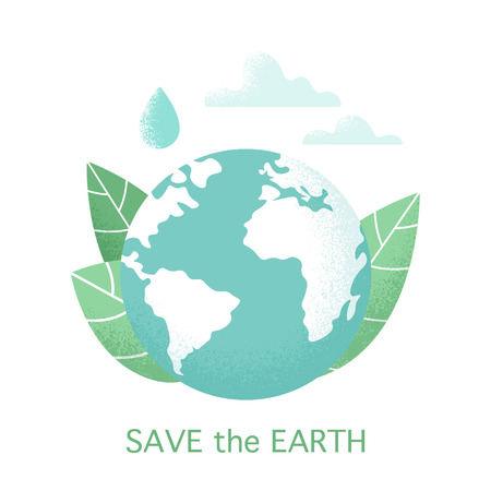 Vector planet Earth design isolated on white background. Concept illustration of environmental protection. Save the Earth banner.