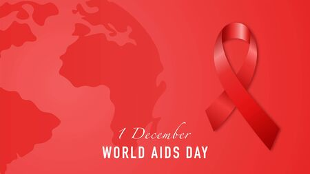 1st December World AIDS Day. Concept vector banner with planet Earth silhouette and realistic red ribbon.