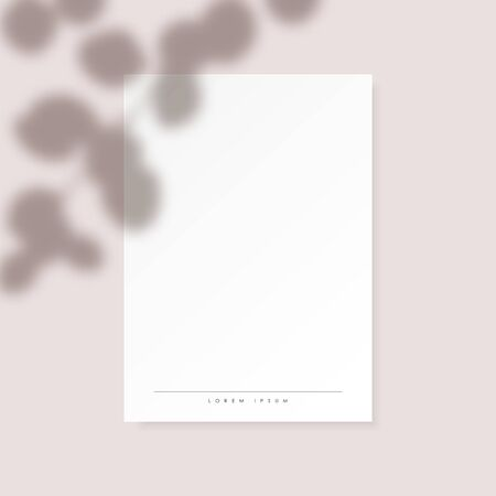 White vertical paper blank with eucalyptus leaves shadow on pastel pink background. Vector template for greeting card for wedding invitation. Editable mockup design. Illusztráció