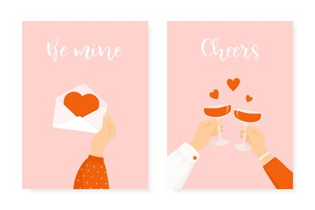 Set of two Happy St. Valentine's day posters. Romantic greeting cards for 14 February celebration. Man and woman holding wine glasses. Woman hand holding love letter. Illustration