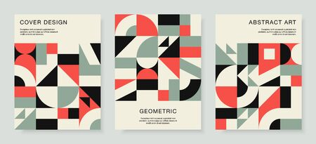 Retro bauhaus covers set. Vector design with colorful geometric compositions for book covers, posters, flyers, magazines, business cards. Vector Illustration