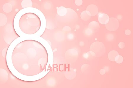 Happy Womens Day vector banner. Paper cut 8 march design. Pink bokeh background.  일러스트