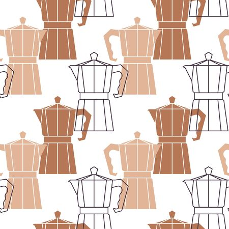 Abstract repetitive background with coffee pots. Moka pot seamless pattern. Vector design template.